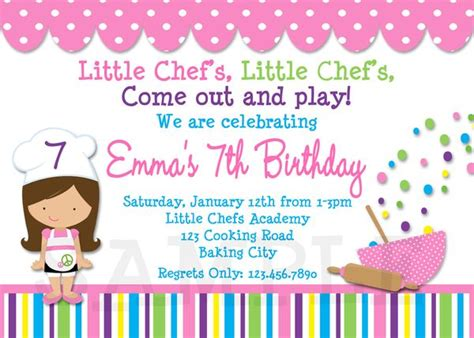 printable birthday invitations girls cooking party