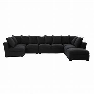 canape d39angle 7 places en tissu monet anthracite With canape 7 places tissu