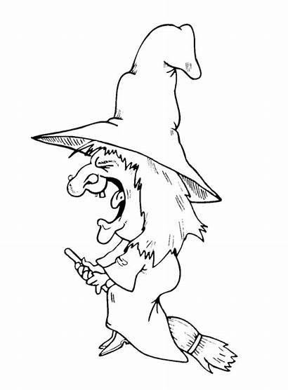 Witch Flying Coloring Pages Halloween Lacrosse Clipart