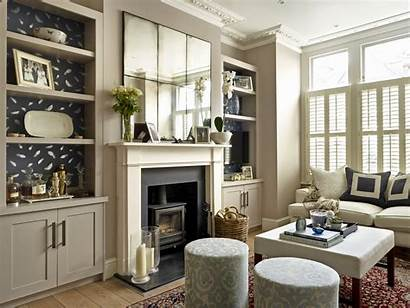 Alcove Units Built Fireplace Living Feature Mirror