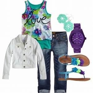 Girls outfit created on Polyvore. Clothes from shopjustice.com | Kiddou0026#39;s Closet | Pinterest ...