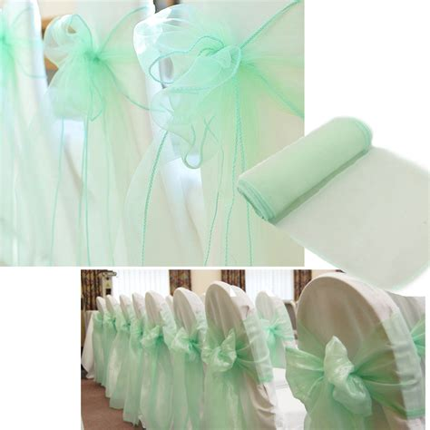new brand 50 pcs mint green wedding organza chair cover