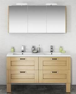 Meuble Vasque Sur Pied : ensemble salle de bain cosy 140 avec meuble sur pieds en 4 tiroirs double vasque et armoire miroir ~ Teatrodelosmanantiales.com Idées de Décoration
