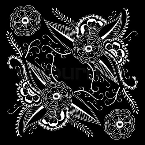 cool bandana designs black and white abstract bandana print with element henna