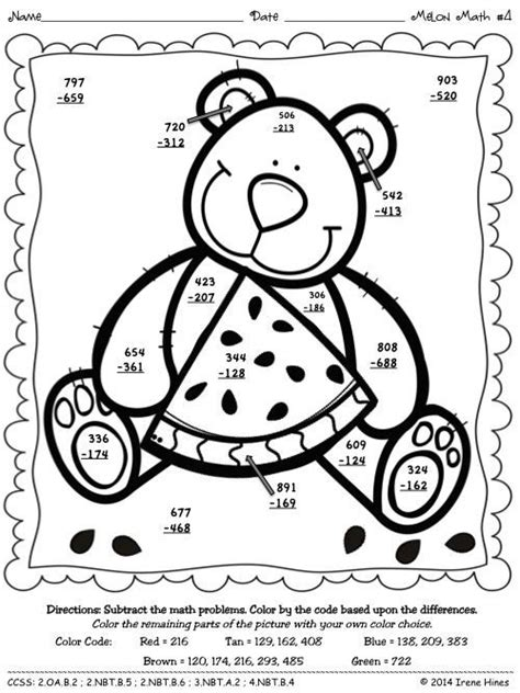 2nd grade math worksheet color by number 3 digit addition with regrouping coloring math