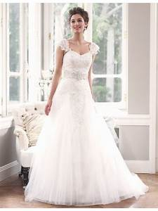 a line lace white wedding dress with removable cap With wedding dress removable sleeves