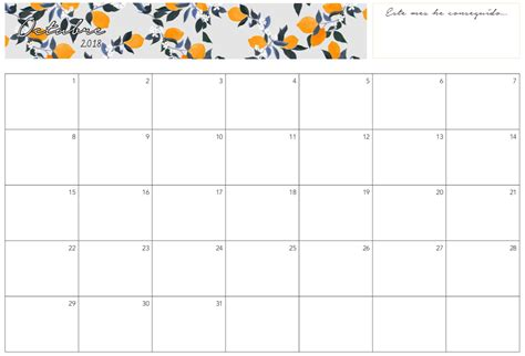 calendario mensual imprimir