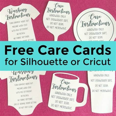 All files will be packed in (zip) file. Free Shaped Printable Care Cards for Your Silhouette or ...