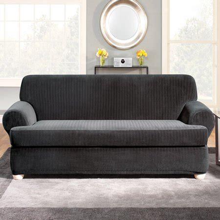 Black Sofa Slipcover by Surefit Stretch Pinstripe 2 T Cushion Sofa Slipcover