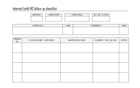 audit follow up template audit nc followup checklist format sles word document