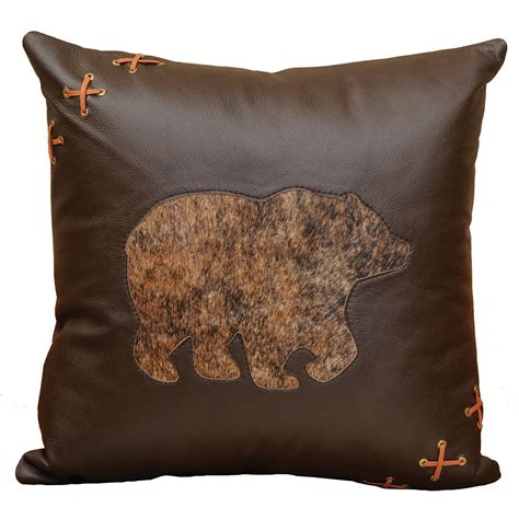 Accent Pillows by Cabin Leather Accent Pillow With Hair On Hide And