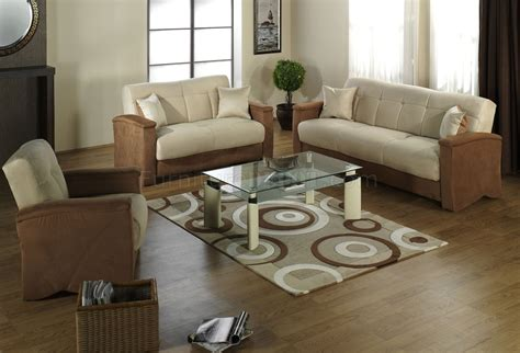 living room beige beige brown fabric modern living room sofabed w storage Modern