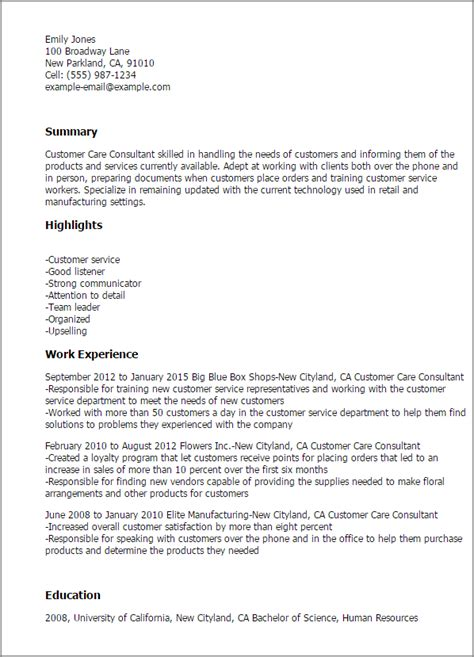 Customer Care Resume by Free Resume Templates Fast Easy Livecareer