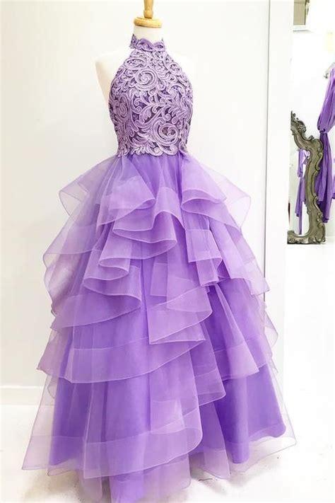 princess high neck lavender applique long prom dresssweet