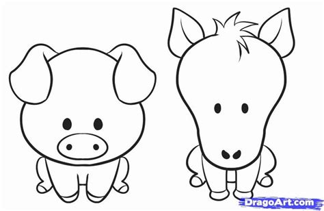 draw  simple animal step  step farm animals