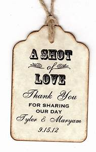 50 personalized shot of love wedding favor tags place With personalized thank you tags for wedding favors