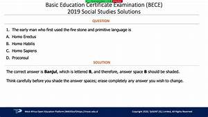 Bece Social Studies 2019 Answers To Question 01 To 10