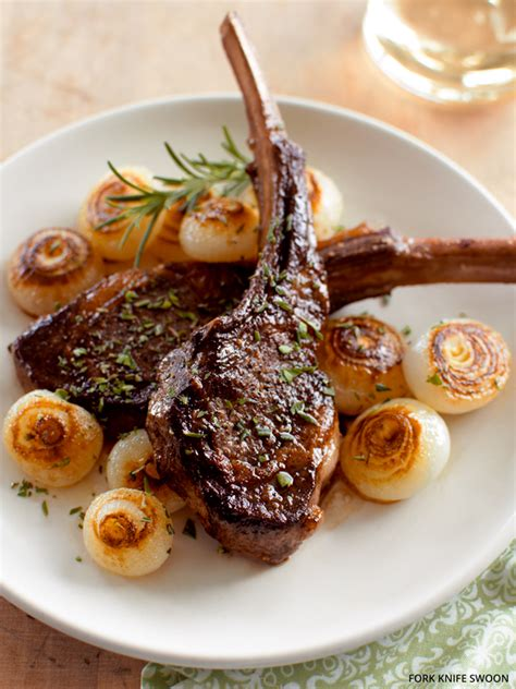 pan seared lamb chops  cippolini onions