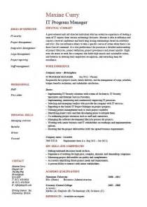 exle program manager resume it program manager resume sle cv description technology project career history format