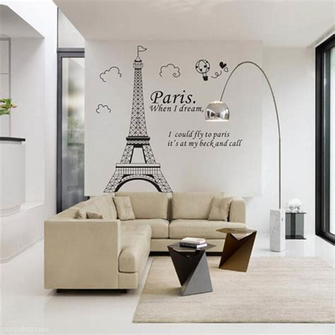 home decor wall decals living room bedroom home decor diy eiffel tower decal wall sticker mural ebay