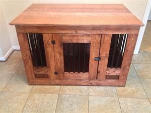 wooden dog crate with metal bars With wood and metal dog crate