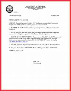 memorandum for record army bio letter format With army memo for record template