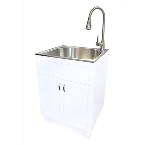 Small Kitchen Organization Ideas - shop transform 25 in x 22 in white cabinet freestanding stainless steel utility sink with drain