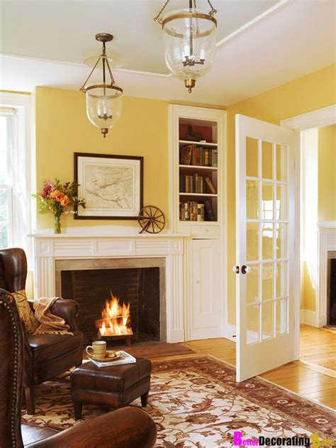 room yellow wall colors living rooms idea french doors yellow room family room fireplace yellow walls