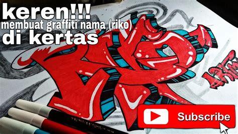 membuat graffiti nama riko  kertas youtube
