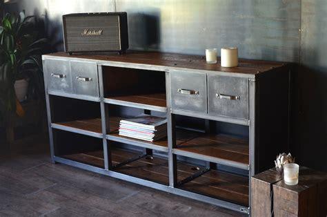 chaine tele cuisine meuble tv hifi industriel bois métal 4 tiroirs micheli