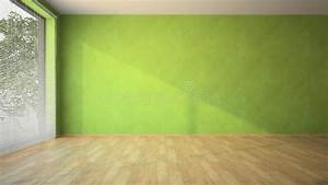 Empty Room With Green Walls And Parquet Stock Photo