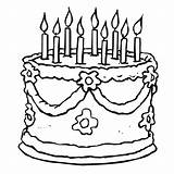 Coloring Birthday Pages Cake Cakes Printable Cartoon Drawing 9th sketch template