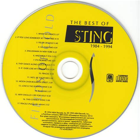 sting fields of gold best of fields of gold the best of sting 1984 1994 de sting cd