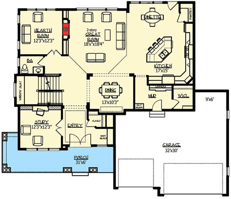 walk out basement floor plans craftsman with amazing great room 73330hs