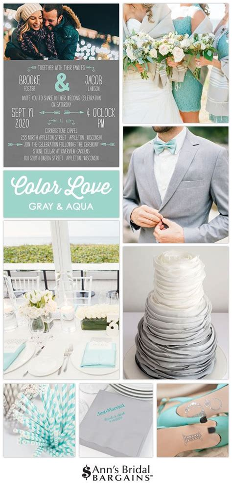 Simple bright and romantic Gray and aqua is a fabulous