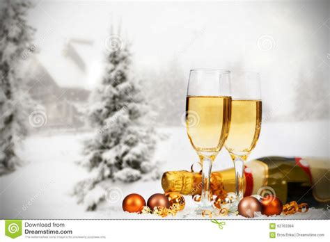 christmas decorations  champagne  winter