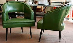 Pair of barrel tub chairs with cutout backs and metal legs for Furniture reupholstery yonkers