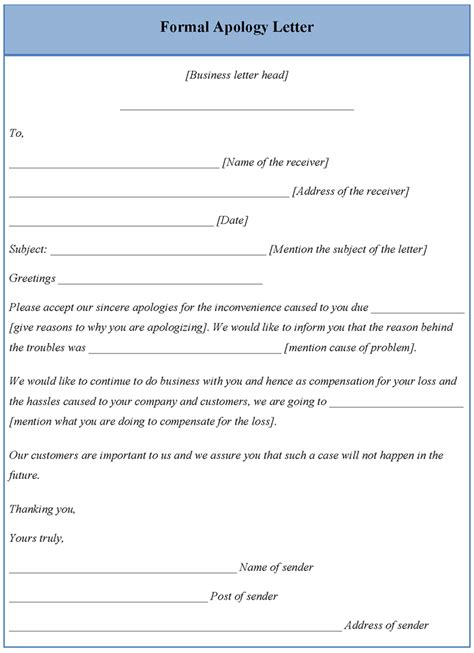 letter template  formal apology sample  formal