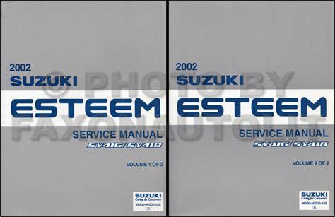 service repair manual free download 1999 suzuki esteem electronic toll collection 2002 suzuki esteem repair shop manual set original