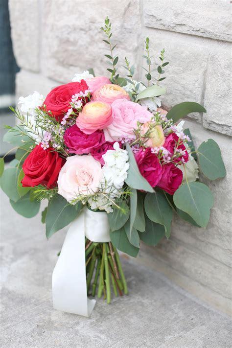 red pink hot pink wild wedding bridal bouquet idea