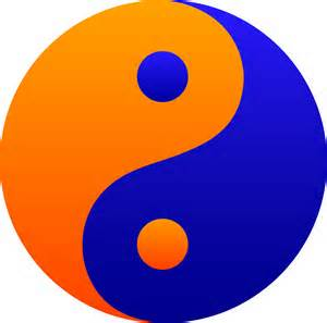 Orange and Blue Yin Yang