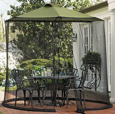 zippered outdoor bug screen for patio table umbrella fits