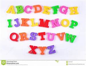 colorful plastic alphabet letters on a white stock image With plastic abc letters