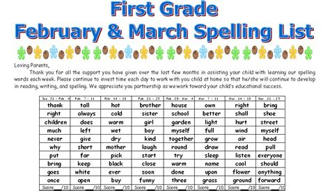 First Grade News At Lbj First Grade February And March Spelling List