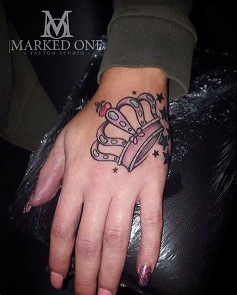 women tattoo girly hand tattoo pink crown  hand