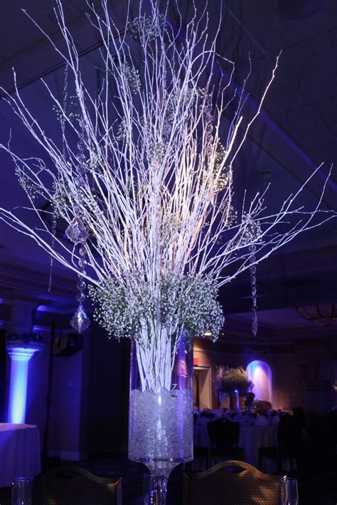 lighted tree centerpieces for weddings crushed in footed cylinder vases with white birch - Lighted Tree Branches For Centerpieces