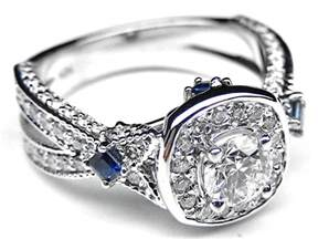 engagement ring with sapphire accents engagement ring halo laced engagement ring blue sapphire accents in 14k white gold es987