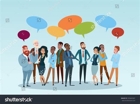 Business People Group Chat Communication Bubble Stock