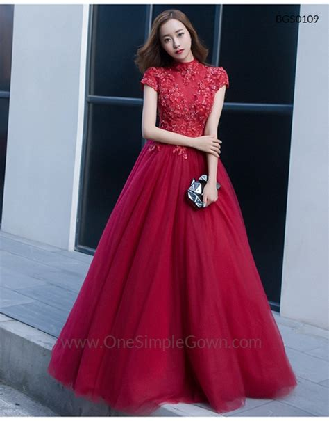 high neck wine red short long sleeve ball gown