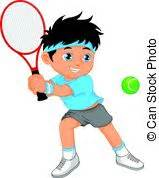 cartoon boy tennis eps vector csp